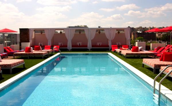 The 60-foot heated pool.