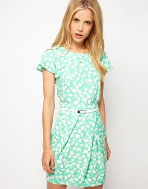 Stand out at the races in this season's must-have mint color, kicked up with a breezy print.