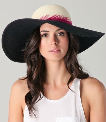 The hot pink feather band on this sunhat adds a little something extra.