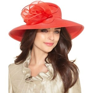 This bright hat would give a neutral dress the perfect pop of color.
