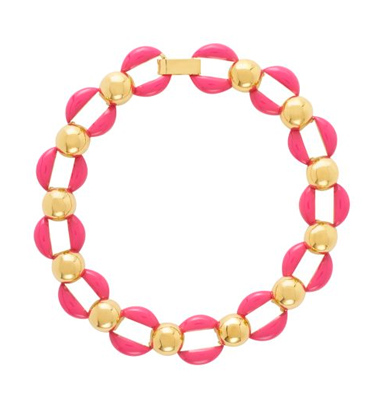 """""""She loves bold and colorful jewelry. This Kate Spade necklace will contrast with her white top and tie into the fun color of the pants."""""""