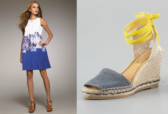 """[For another look], I'd also recommend a dress that's easy to move in while still looking fresh, like this one from Piazza Sempione, with some espadrilles with a dash of bright yellow."""