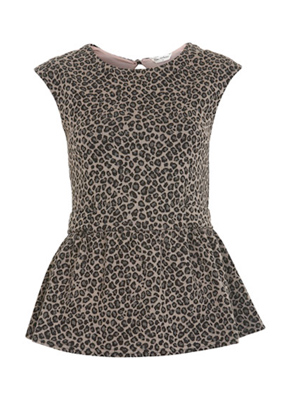 Try adding a touch of leopard to an all-black ensemble with this fun top.