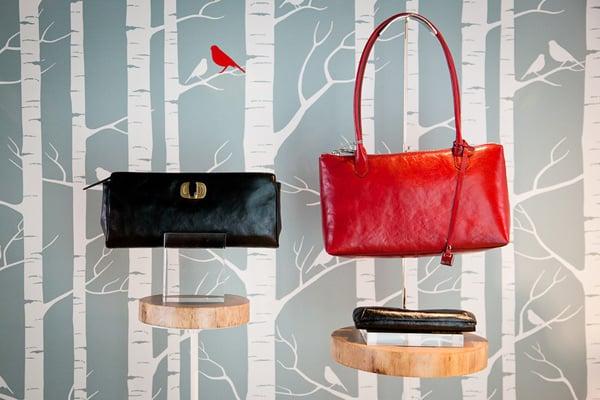Delanna turn-lock clutch (left, $138), and Lola shoulder bag (right, $168).