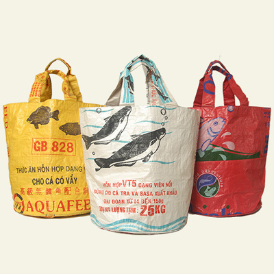 The material is 100 percent recycled from Southeast Asian rice and feed bags.