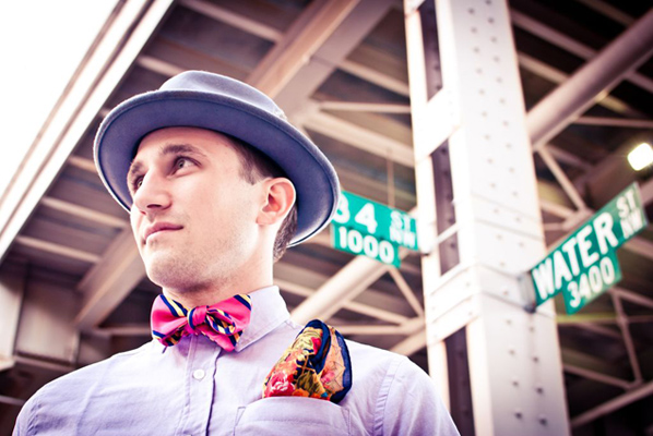 Lavender shirt and felt hat from Federal, bow tie from Accoutre, and vintage pocket square from It's Vintage Darling.