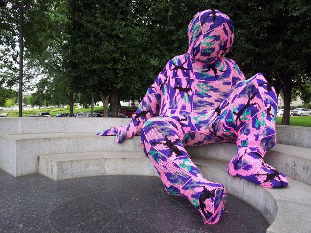 Guerrilla Crochet Artist Olek Yarn-Bombs Albert Einstein Memorial
