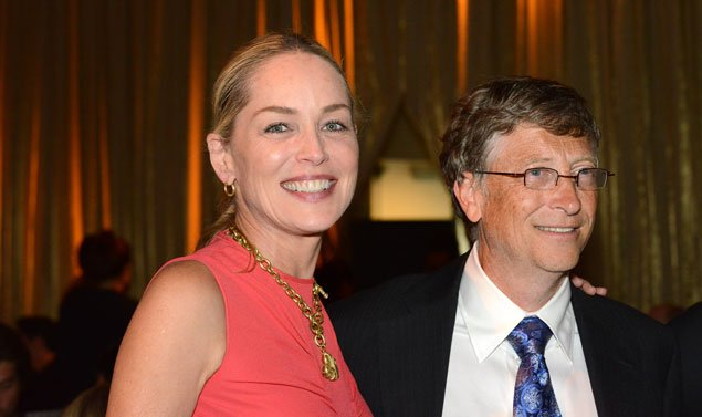 Bill Gates and Sharon Stone Attend the Amfar Dinner at the Kennedy Center (Photos)