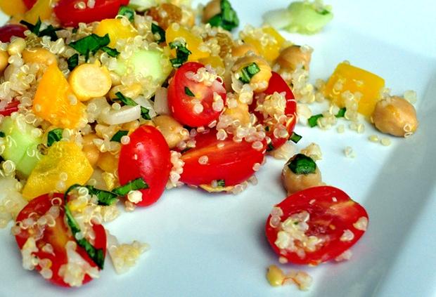 Healthy Recipe: Tabbouleh With Chickpeas, Seasonal Vegetables, and Lemon-Garlic Dressing