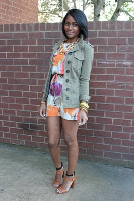 Over Bold Florals and a Big Chain