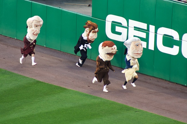 Pressure Mounts for Teddy Roosevelt to win the Presidents Race at Nationals Park