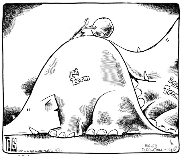 A Look at President Obama's First Term Through Editorial Cartoons