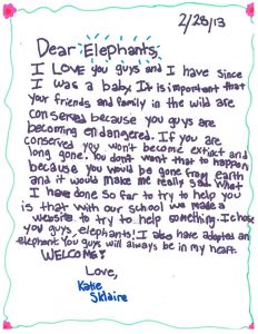 Elephant Letters: Katie on Conservation