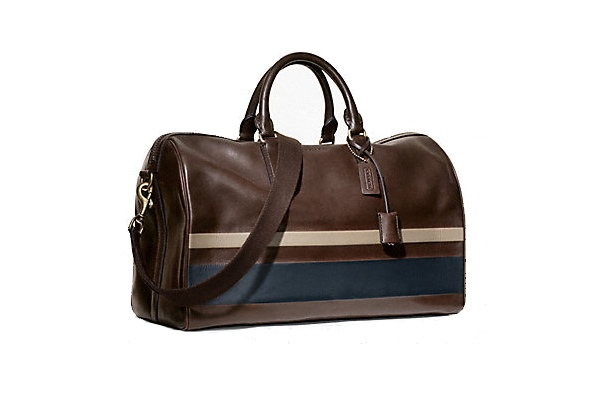 Coach Bleecker debossed stripe duffle, $698.