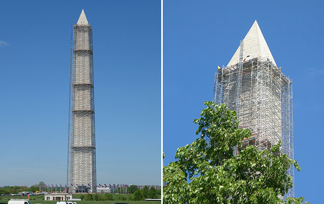 Washington Monument Scaffolding Project Nears Completion (Photo)