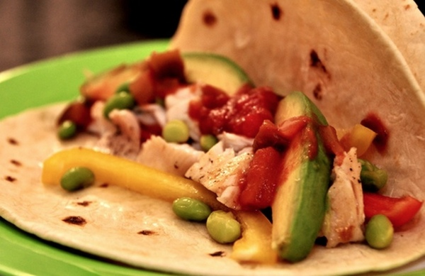 Fresh Fish Tacos With Edamame and Peppers