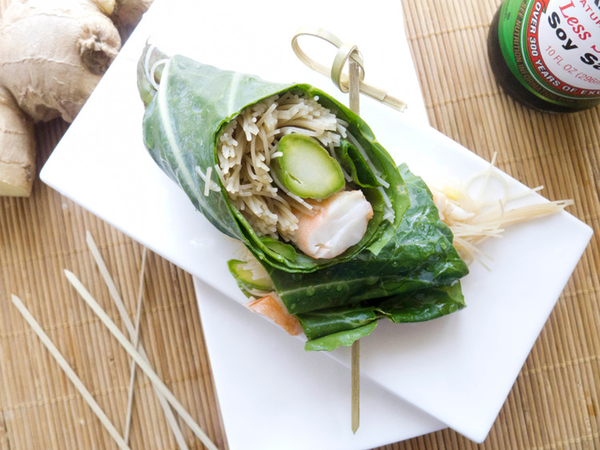 Asian Shrimp and Noodle Collard Green Wrap