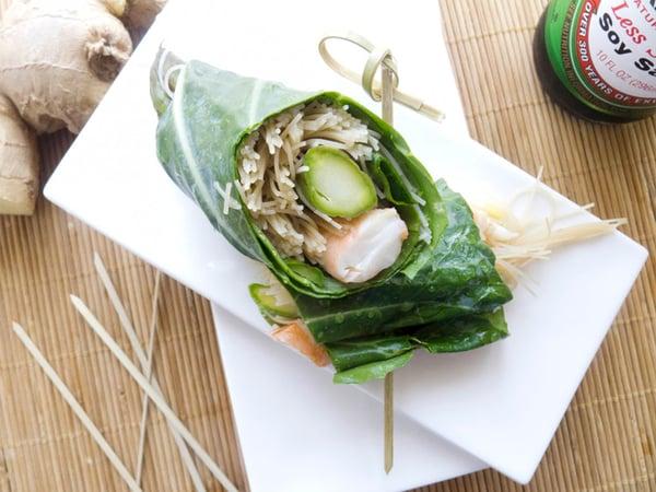 Asian Shrimp and Noodle Collard Green Wrap