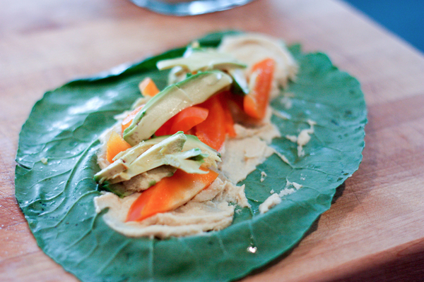 Collard and Hummus Wraps