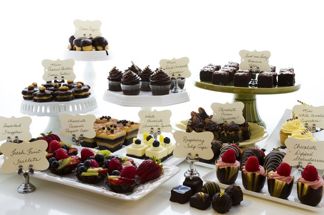 Add a sweet note to your nuptials with a decadent dessert bar. Not only do these food stations make for pretty photos