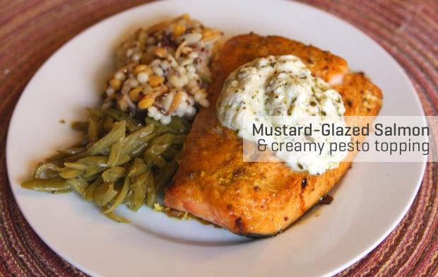 Healthy Recipe: Mustard-Glazed Salmon With Creamy Pesto Topping