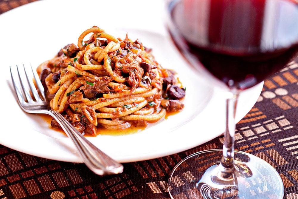 Bigoli pasta with duck ragout. Photograph by Scott Suchman.