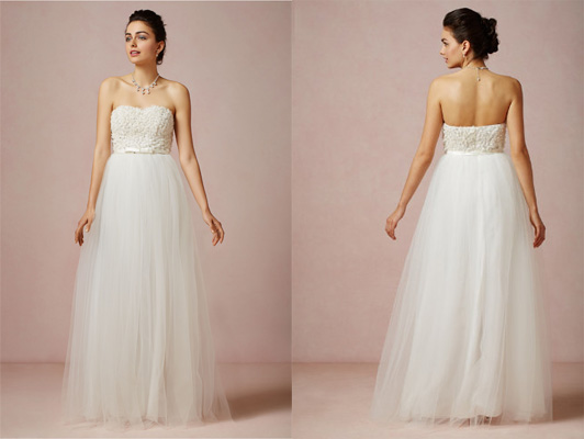 a chiffon and silver beaded strapless gown that will make any bride feel like a princess add a statement necklace for extra pop