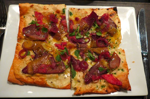 Food Finds: Bourbon Steak's Heart-and-Tongue Flatbread