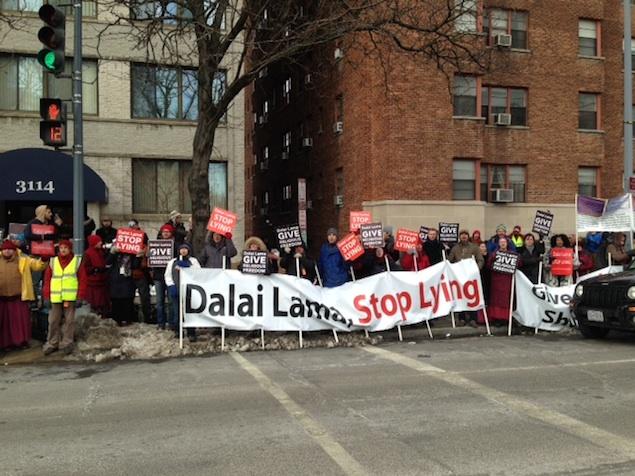 Hundreds Gather at National Cathedral to Protest Dalai Lama