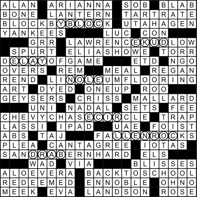 September 2014 Crossword Puzzle Answer Key