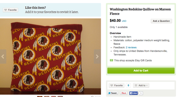 Etsy Bans Products With Redskins Name or Logo