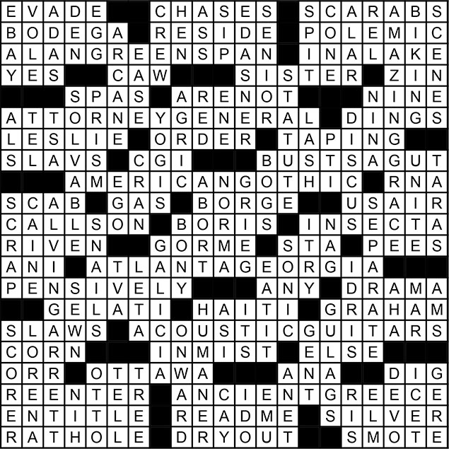 October 2014 Crossword Puzzle Answer Key