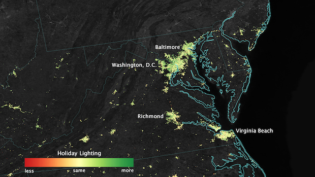 Here's What Washington's Christmas Lights Look Like From Space