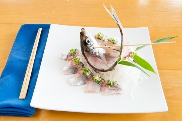 At Columbia's Sushi Sono, a whole aji (horse mackerel) is deep-fried with salt and served as sushi or sashimi. Photograph by Andrew Propp.