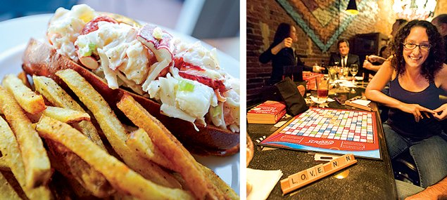 (Left) Hank's Oyster Bar makes one of the best lobster rolls in town; (Right) have fun playing games at the Board Room. Photograph of Board Room courtesy of Elizabeth Lindsay; lobster roll by Daniel Swartz.