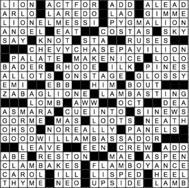 March 2015 Crossword Answer Key