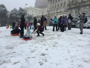 Capitol Police Surrender Hill to Children With Sleds
