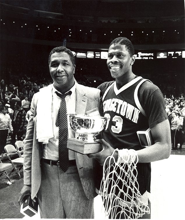 After Capturing The Big East Championship In 1984 Georgetown Coach John Thompson Left And Center Patrick Ewing Right Won National