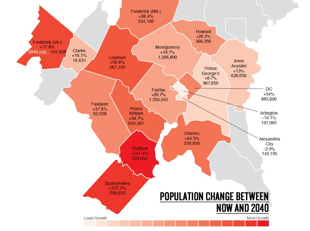 The FastestGrowing Suburbs Of Washington Are In Counties Youve - Can you hear us now county map