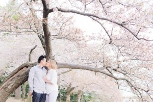 Cherry Blossom Engagement Photos at the Tidal Basin