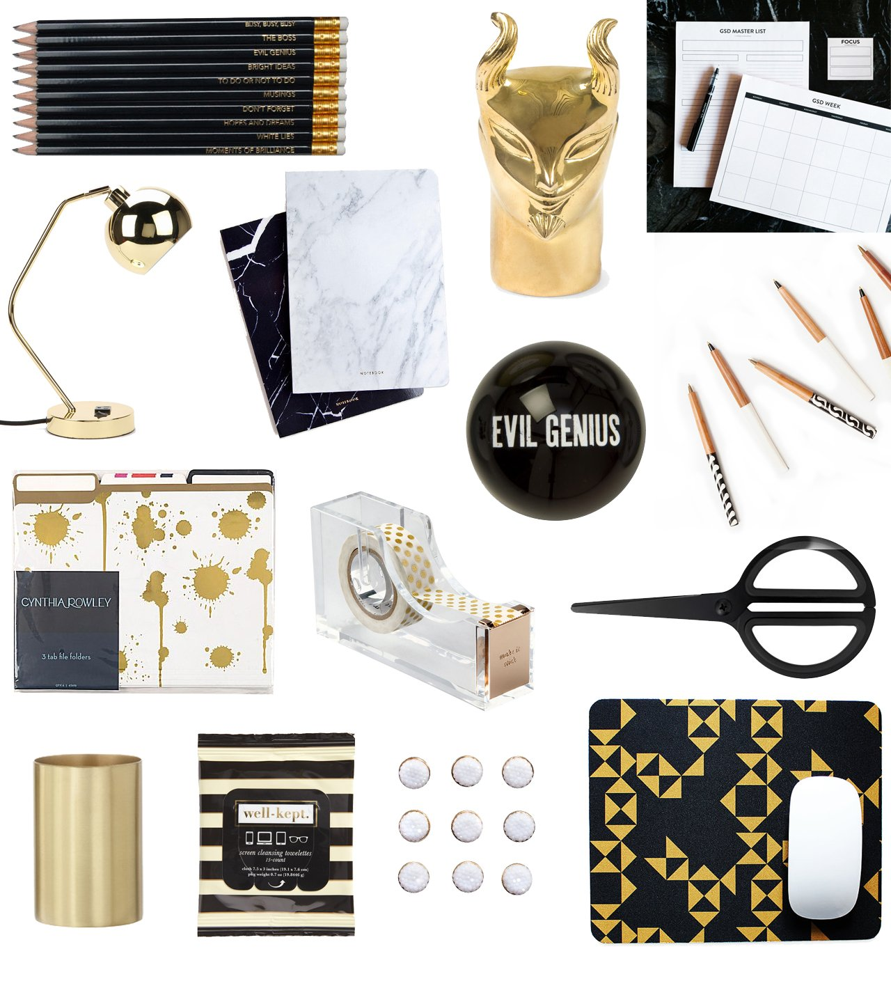 At Top: Russel U0026 Hazel Acrylic Stapler, $24. Above: Clever Pencil Set, $25;  Jonathan Adler Brass Devil Pencil Sharpener, $95; Meg Biram GSD Notepad ...