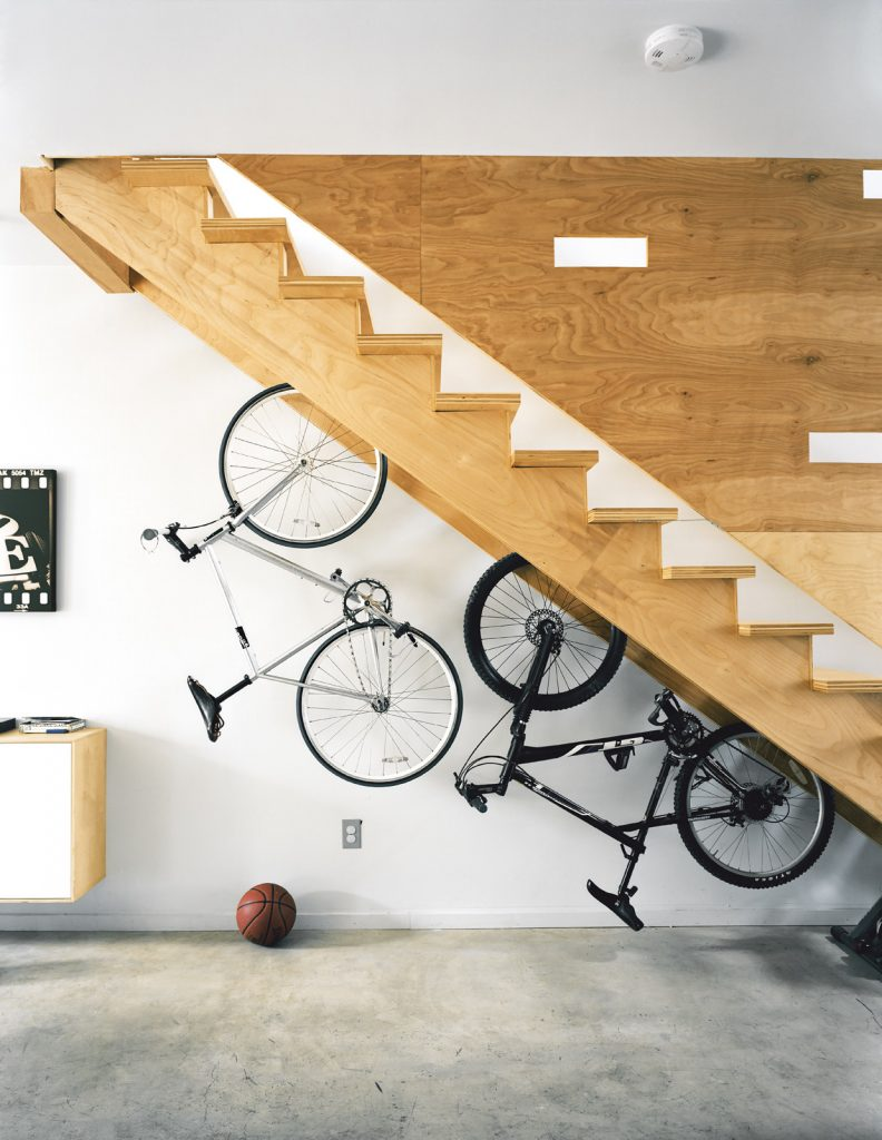 Under-the-stairs storage at a green, urban home in Philadelphia. Photo via Dwell.