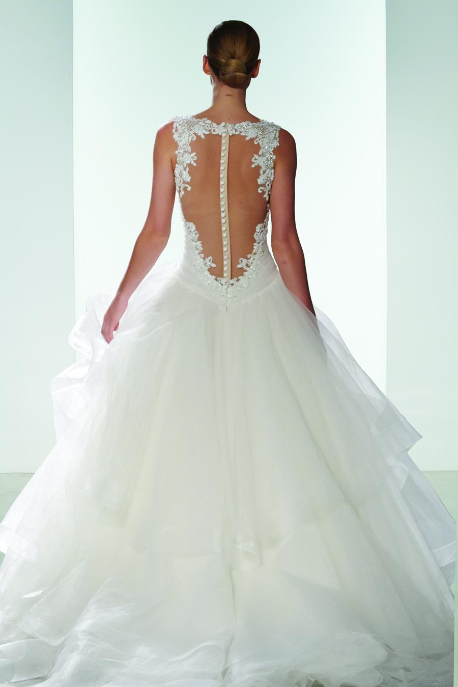 Kenneth Pool Wedding Dress 9 Spectacular Sheer back ball gown