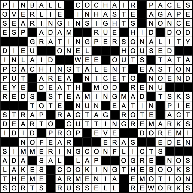 July 2015 Crossword Answer Key