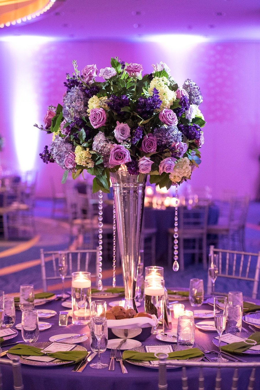 glam purple wedding at the renaissance arlington hotel ballroom
