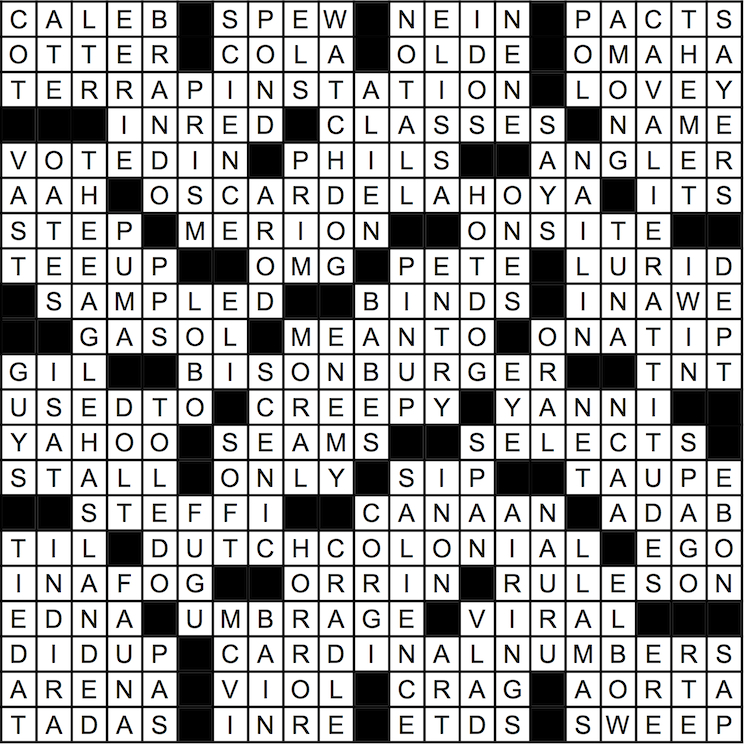 October 2015 Crossword Answer Key