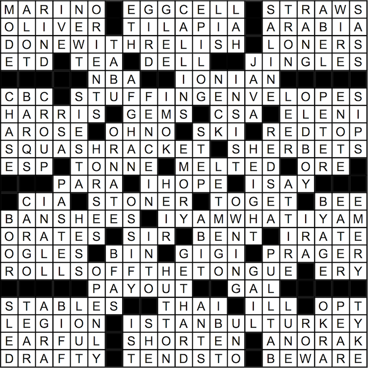 November 2015 Crossword Answer Key