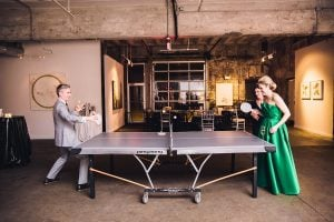 There Was a Green Wedding Dress and a Ping-Pong Table at This Modern Long View Gallery Wedding
