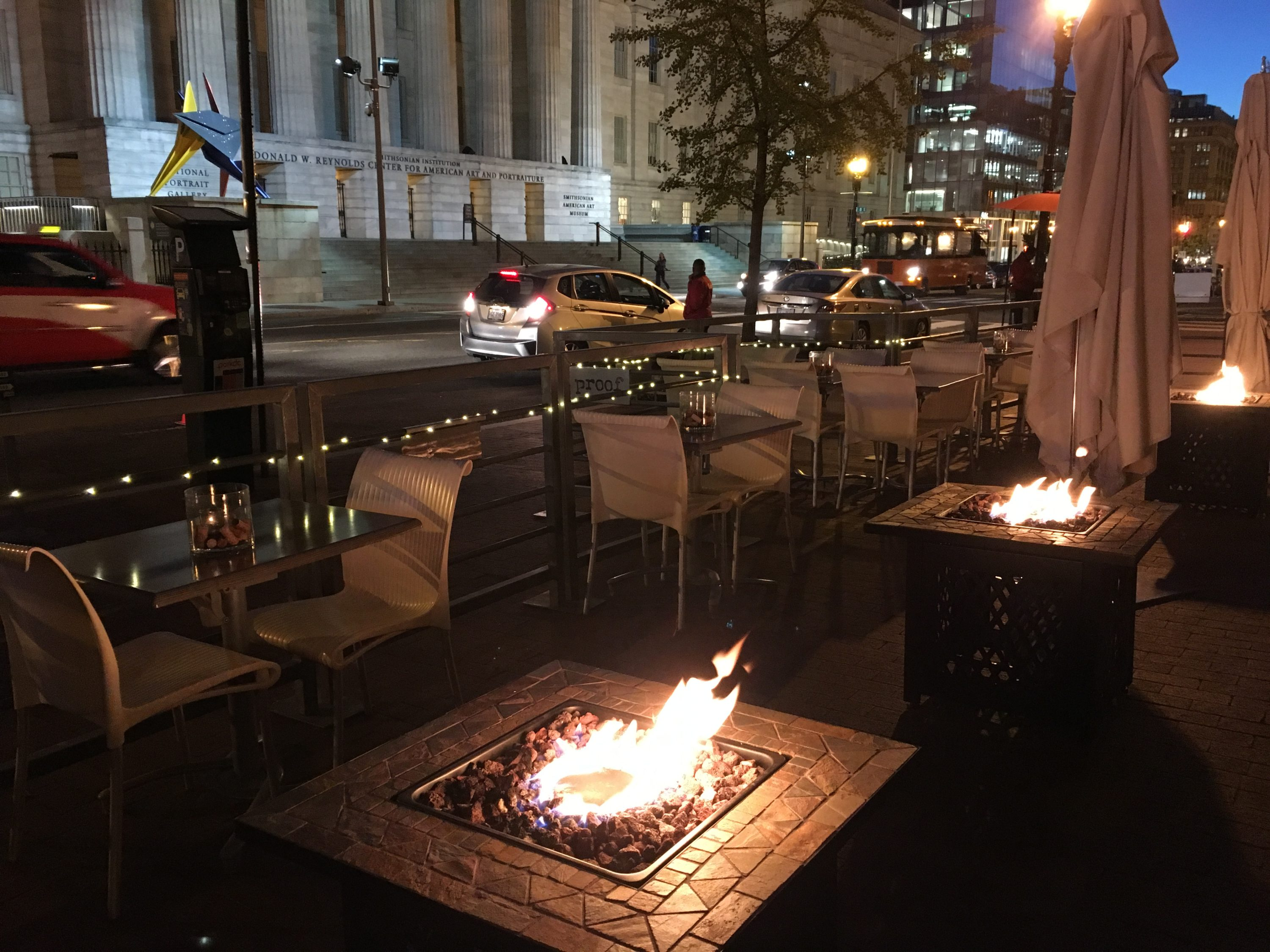 Warm up with fire pits and a thermos of booze on Proof's winter patio. Photograph courtesy of Proof
