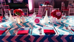 Hot Pink and Blue Chevron Torpedo Factory Wedding